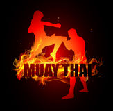 Thai boxing is kicking with knee poses of muay thai fire. Background vector Stock Image