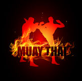 Thai boxing is kicking with neck posture of muay thai fire. Background vector Stock Images