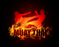 Thai boxing is kicking posture. With muay thai fire vector Royalty Free Stock Photos