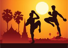Thai Boxing Muay Thai martial art famous sport,two boxer fight t. Ogether around with nature and temple,sunset silhouette design Royalty Free Stock Image