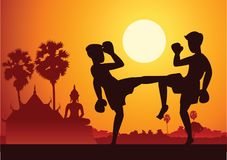 Thai Boxing Muay Thai martial art famous sport,two boxer fight t. Ogether around with nature and temple,sunset silhouette design Stock Photography