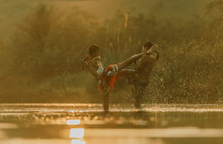 Thai boxing. At the river Stock Photography