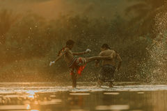Thai boxing. At the river Stock Images