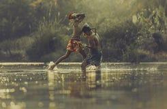 Thai boxing. At the river Royalty Free Stock Photos