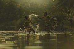 Thai boxing. At the river Royalty Free Stock Image