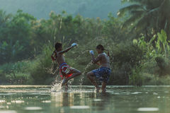 Thai boxing. At the river Stock Image