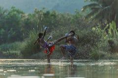 Thai boxing. At the river Stock Photos