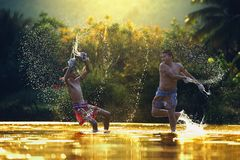 Thai boxing at the river,Boxing fighters trainning outdoor,Muay Thai royalty free stock photos