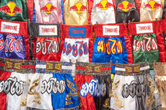 Thai boxing shorts on sale at Patpong night market, Bangkok Stock Image