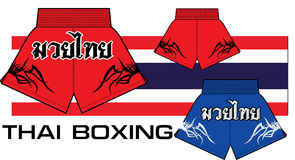 Thai boxing shorts. Thailand fighting Royalty Free Stock Photo