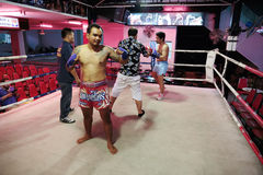 Thai boxing show to tourists in night bar Stock Images