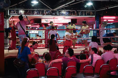 Thai boxing show to tourists in night bar Royalty Free Stock Photography