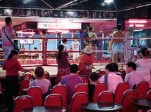 Thai boxing show to tourists in night bar Royalty Free Stock Images