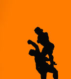 Thai boxing. Silhouette of Thai boxing, the cultural sport Stock Images