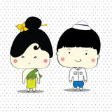 Thai boy and girl vector Royalty Free Stock Images