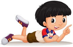 Thai boy pointing his finger. Illustration Royalty Free Stock Images