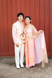 Thai Bridal in Thai Wedding Suit with Flowered Garland Royalty Free Stock Images