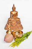 Thai buddha rite. Equipments in buddhist meritorious rite in Thailand Stock Photos