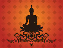 Thai buddha silhouette on pattern background vector illustration Stock Photo