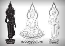 Thai buddha sitting Outline Silhouettes black and white Stock Photography