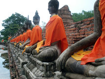 Thai Buddhas. Buddhas at the temple of Wat Yai Chai near Bangkok Royalty Free Stock Photography