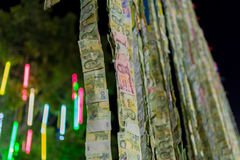 Thai buddhism donate a money banknotes Royalty Free Stock Photos