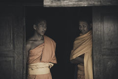 Thai Buddhism monks smiling in peace Royalty Free Stock Photos