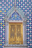 Thai buddhism temple door. Traditional Thai buddhism temple door isolate Royalty Free Stock Photography