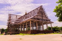 Thai Buddhist church in local of Thailand under construction Stock Photo