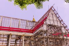 Thai Buddhist church in local of Thailand under construction Royalty Free Stock Image