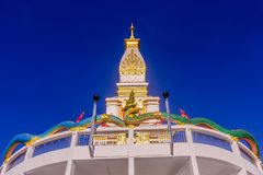Thai Buddhist pagoda at Doi Thepnimit temple on Patong hilltop. It is the newest landmark for tourists of Phuket, Thailand. It has been built in style of Pra Stock Images
