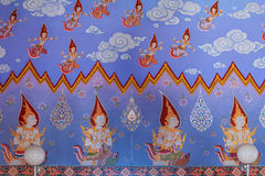 Thai buddhist paintings of dieties on the temple walls Stock Images