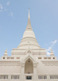 Thai Buddhist style white pagoda under blue sky Royalty Free Stock Photos