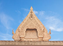 Thai Buddhist temple ancient style stucco gable Royalty Free Stock Photos
