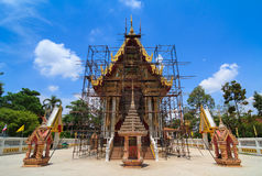 Thai buddhist temple during construction Royalty Free Stock Photography