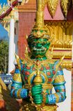 Thai Buddhist Temple Guardian Giant Suriyaphob, mythological guard statue in Thailand wat. Ancient mythological mythical magic creature in East Asian culture Stock Photo