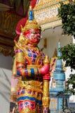 Thai Buddhist Temple Guardian Giant Suriyaphob, mythological guard statue in Thailand wat. Ancient mythological mythical magic creature in East Asian culture Stock Image