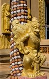 Thai Buddhist Temple Guardian, mythological guard statue in Thailand wat. Ancient mythological mythical magic creature in East Asian culture Stock Photos