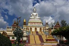 Thai buddhist temple with large buddha image stock images