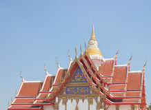 Thai Buddhist temple roof top Royalty Free Stock Images