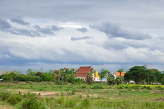 Thai Buddhist Temple at rural countryside in Thailand Royalty Free Stock Images