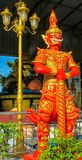 Buddhist Temple Guard in Thailand wat. Thai Buddhist Temple stone Guardian Giant Suriyaphob, mythological guard statue in Thailand wat. Ancient mythological royalty free stock photo
