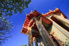 Thai building temple and flowers Stock Image