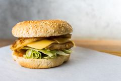 Thai burger on wooden table gray background royalty free stock images