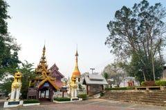 Thai-Burmese fusion art of Maehongson temple. Thai-Burmese fusion art of temple in Maehongson, Thailand royalty free stock photos