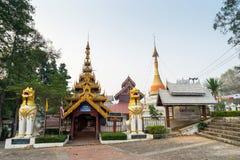 Thai-Burmese fusion art of Maehongson temple. Thai-Burmese fusion art of temple in Maehongson, Thailand stock images