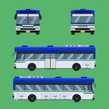 Thai bus blue white green transport car vehicle driver fare passenger autobus omnibus coach rail bench chair stool armchair seat m. Attress bolster hassock pad vector illustration