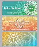 Thai calligraphic design gift card, bonus card and voucher templates. Voucher financial, gift coupon, banner card bonus. Vector illustration Stock Image
