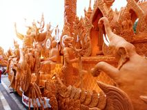 Thai candle festival. Was important of buddhism day Royalty Free Stock Image