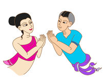 Thai cartoon, lady and man greeting character Royalty Free Stock Image